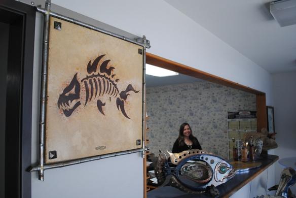 Stone Inlay in Art Metal Frame